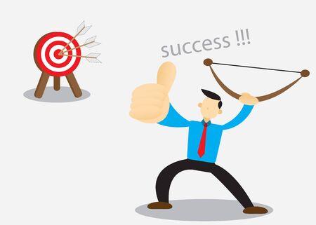 Successful entrepreneurs reach the target. Vector illustration of cartoon eps 10. Иллюстрация