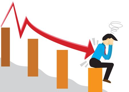 Businessman who fails in investment. Vector illustration of eps 10.