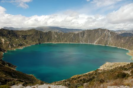 Laguna Quilotoa in Ecuador. Stock Photo