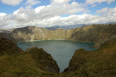 Quilotoa lagoon in Ecuador Andes.