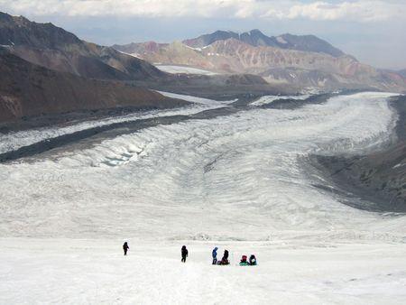 lenin: Peak Lenin glacier, Pamirs.  Stock Photo