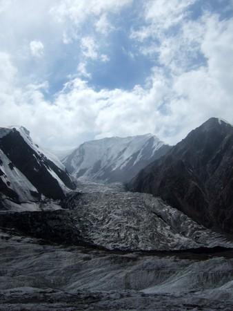 crack climbing: Peak Lenin glacier, Pamirs. Stock Photo