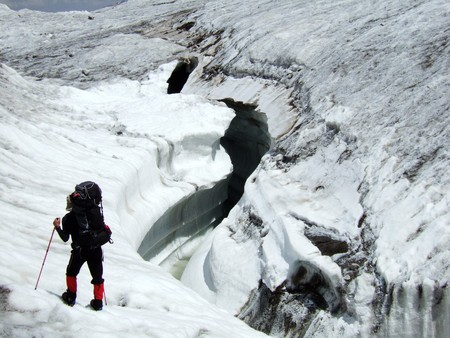 crevasse: Huge glacier crevasse. Stock Photo