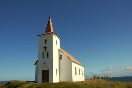 Trinity Churh on coast of Iceland. Stock Photo