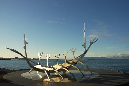 Viking ship monument in Reykjavik. Stock Photo