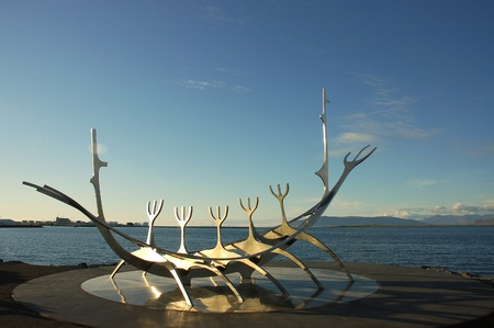 Viking ship monument in Reykjavik. Stock Photo - 8530739