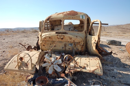 Destroyed military truck.