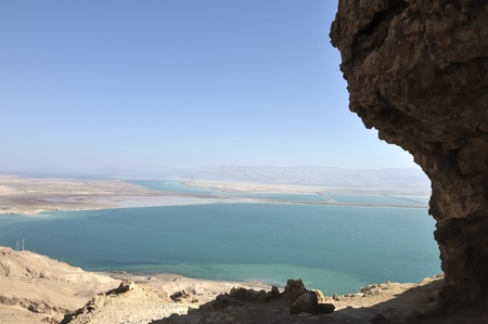 Dead Sea view from Judea mountains. Stock Photo