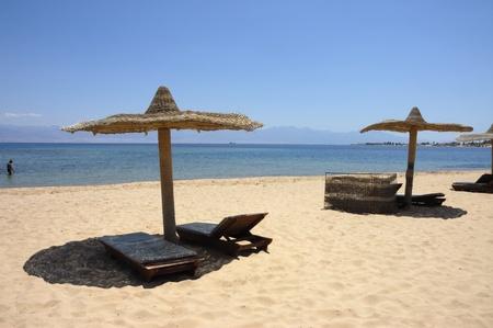 Sandy beach at Red Sea coast, Sinai. photo
