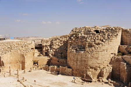 judea: Ruins of king Herod palace in Judea, Israel. Stock Photo