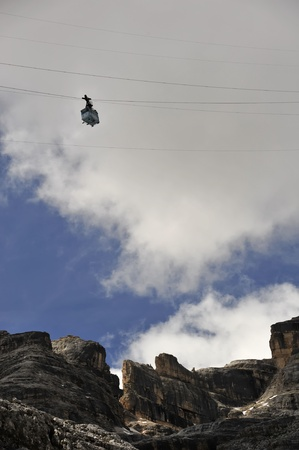 Cable car in Dolomite Mountains, Italy. photo