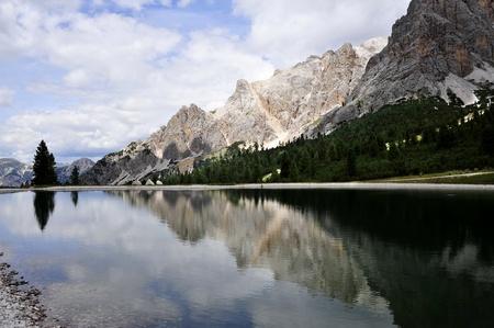 Mountain lake in Dolomite Alps in Cortina, Italy. Stock Photo