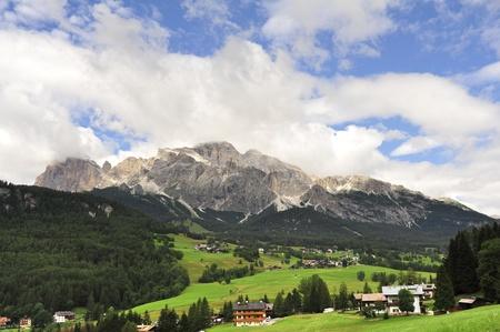 Alpine landscape near Cortina dAmpezzo in Italian Dolomites.