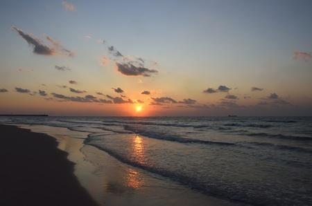 Mediterranean sunset in Ashdod, Israel.