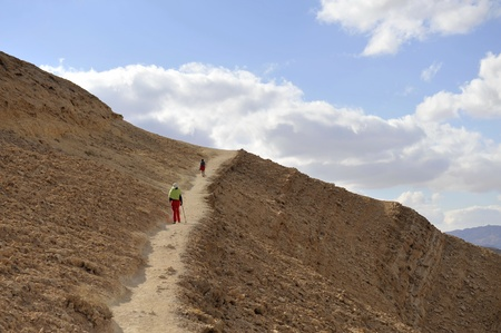 negev: Mountain trekking in Negev desert, Israel  Stock Photo