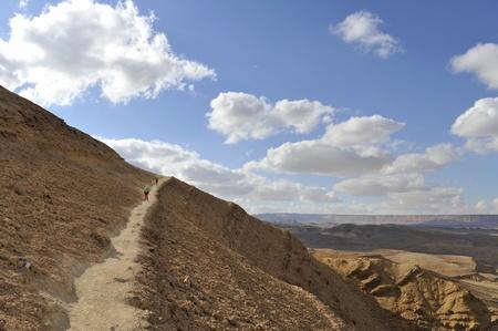 Mountain trekking in Negev desert, Israel  Stock Photo