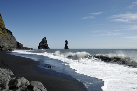 Volcanic coast at South Iceland  Stock Photo