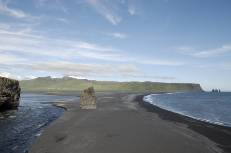 inlet bay: Black sandbank at Dyrholaey bay, Iceland