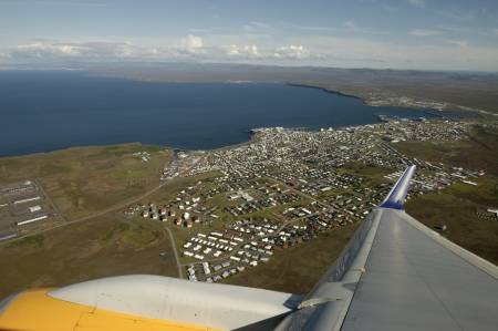 View from airplane on Keflavik city, Iceland  Stock Photo