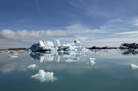 Melting icebergs in Jokulsarlon ice lagoon.