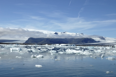 Floating ice in Jokulsarlon lagoon, Iceland. photo