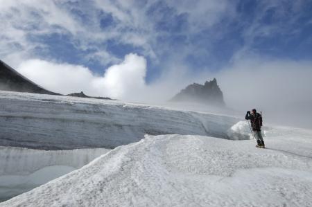 crevasse: Climbing on Snaefellsjokull volcano, Iceland