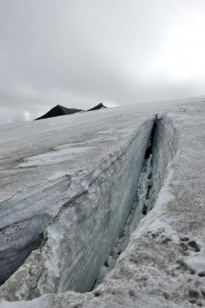 crevasse: Ice crevasse on Snaefellsjokull glacier, Iceland