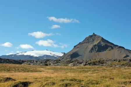 Ice summit of  Snaefellsjokull volcano, West Iceland.