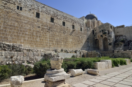 Antique artifacts near Western Wall in Old City of Jerusalem  Stock Photo - 16294018