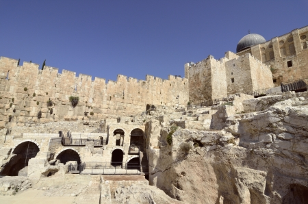 Archeological excavations near Western Wall in Jerusalem  photo