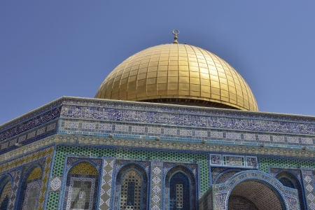 Shining gold dome of Rock Temple, Jerusalem  Stock Photo