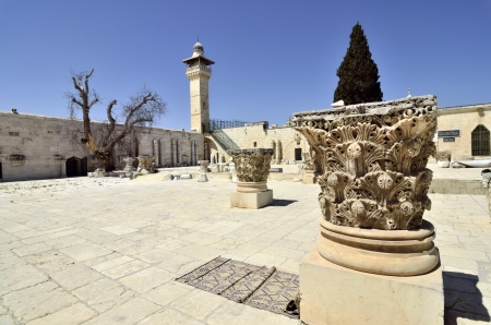 Ancient artifacts and minaret on Temple Mount in Jerusalem, Israel. photo