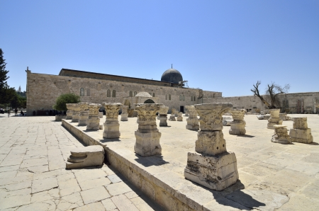 artifacts: Ancient artifacts and mosque on Temple Mount in Jerusalem, Israel.