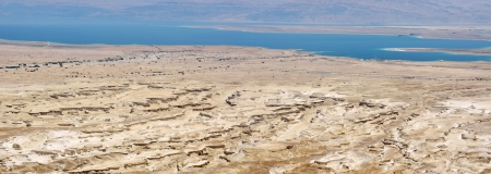 Dead Sea panoramic view from Masada, Israel photo