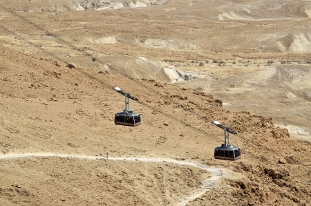 ascent: Funicular on Masada fortress and ascent trail in Judea desert, Israel.