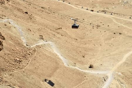masada: Funicular on Masada fortress and hiking trail in Judea desert, Israel.