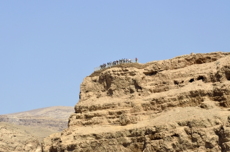 Tourists on the top of Masada stronghold in Judea desert, Israel. Stock Photo - 17041800