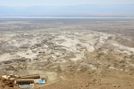 judea: Judea desert and Dead sea plain view, Israel.