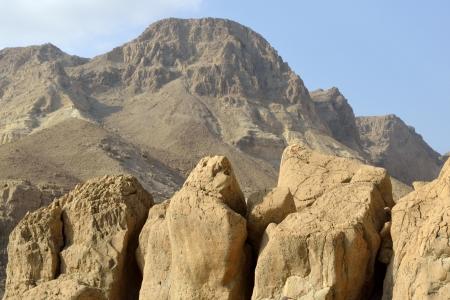 ein: Ein Gedi mountain landscape in Judea desert, Israel. Stock Photo