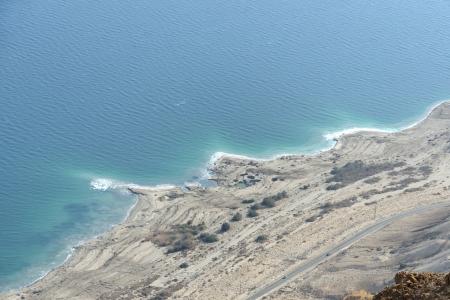 judea: Aerial view of Dead Sea coast from Judea desert mountains, Israel. Stock Photo