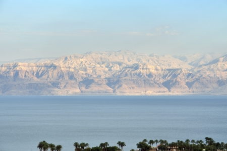 ein: Evening view of Dead Sea from Judea desert mountains, Israel.
