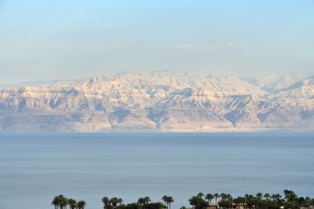 judea: Evening view of Dead Sea from Judea desert mountains, Israel.