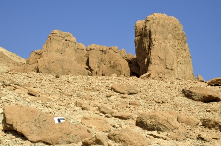 judea: Hikers trail in Judea desert mountains, Israel