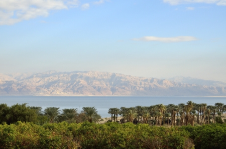 Evening view of Dead Sea from Judea desert mountains, Israel. photo