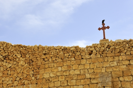 judea: Saint Sabbas monastery ancient walls, Judea desert in Israel.