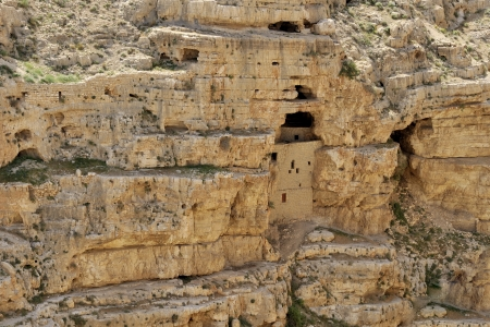 inaccessible: Inaccessible hermit cells near Mar Saba monastery in Judea desert, Israel