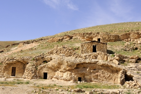 judea: Abandoned hermit cells in Judea desert, Israel  Stock Photo