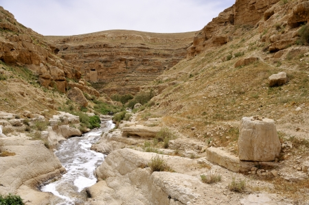 Stream in Kidron valley, Judea desert in Israel  Stock Photo