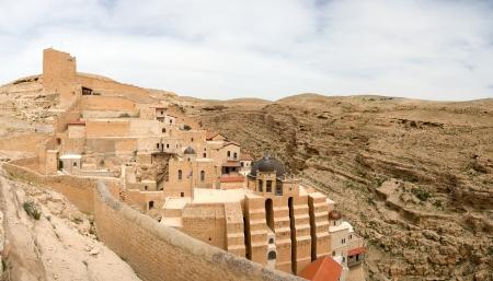judea: Saint Sabbas monastery situated above Kidron valley in Judea desert, Israel