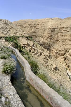 judea: Ancient aqueduct in Qelt gorge in Judea desert, Israel